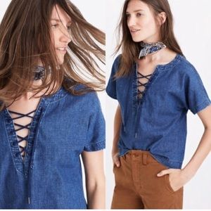Madewell Denim Lace Up Top
